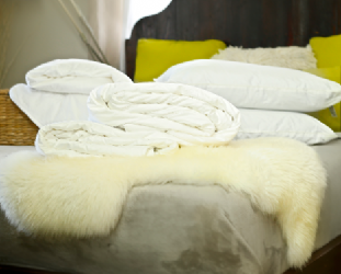Double Euro size all-seasons mulberry silk-filled duvets, silk-filled mattress topper and 2 silk-filled pillows