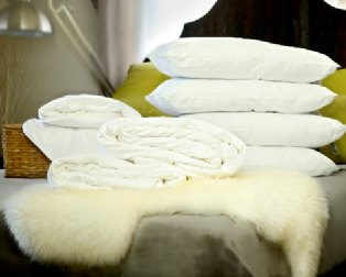 Double Euro size all-seasons mulberry silk-filled duvets, silk-filled mattress topper and 4 silk-filled pillows