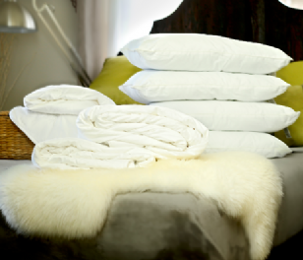 Queen size all-seasons mulberry silk-filled duvets, silk-filled mattress topper and 4 silk-filled pillows