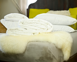 Queen size all-seasons mulberry silk-filled duvets, silk-filled mattress topper and 2 silk-filled pillows
