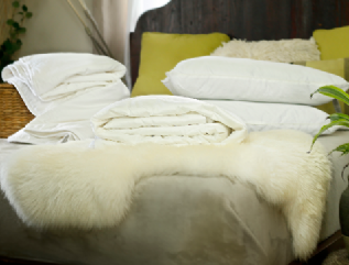 Queen size summer mulberry silk-filled duvets, silk-filled mattress topper and 4 silk-filled pillows