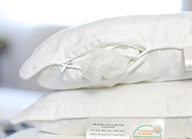 Long-strand 100% natural mulberry silk-filled pillow from Silk Bedding Direct