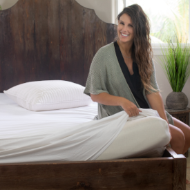 Long-strand mulberry silk-filled mattress pad from Silk Bedding Direct