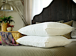 Pair of mulberry silk-filled pillows from Silk Bedding Direct