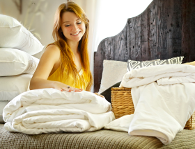 Long-strand mulberry silk-filled duvets, mattress toppers and pillows in double bed size