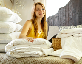 Long-strand mulberry silk-filled duvets, mattress toppers and pillows in king size