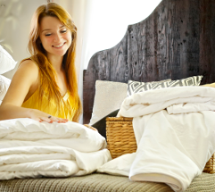 Long-strand mulberry silk-filled duvets, mattress toppers and pillows in twin bed size