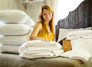 Long-strand mulberry silk-filled duvets, mattress toppers and pillows in super king size