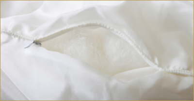 Mulberry silk fills the interior of the duvet