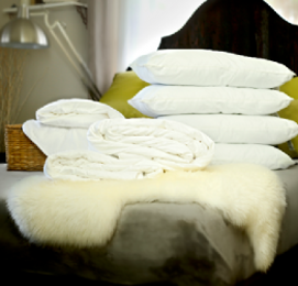 Super king size all-seasons mulberry silk-filled duvets, silk-filled mattress topper and 4 silk-filled pillows